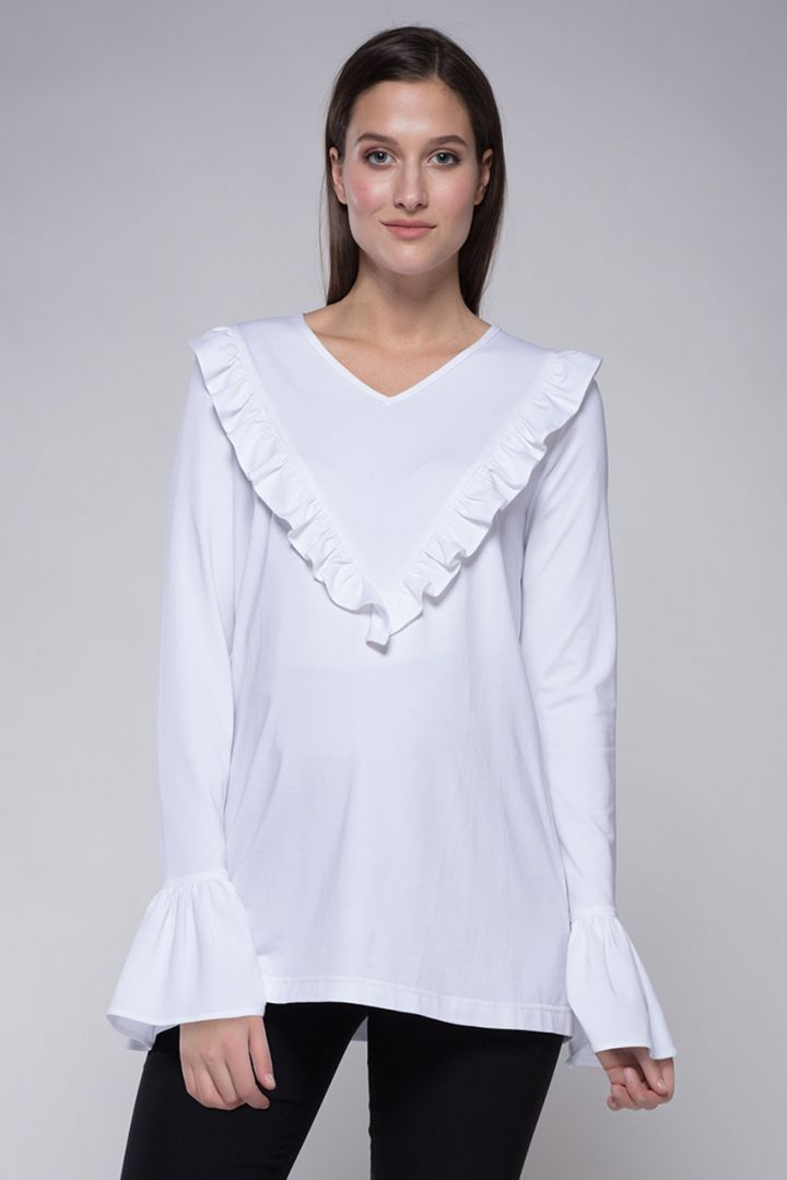 Maternity shirt with frills white