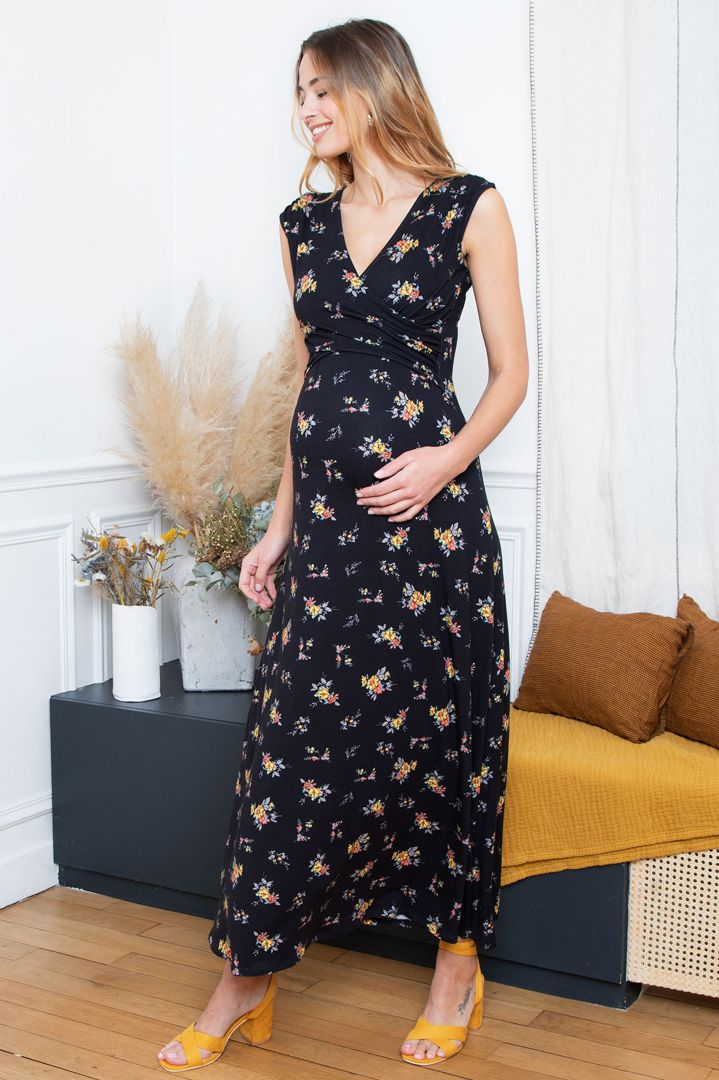 Maxi Maternity and Nursing Dress with Flower Print