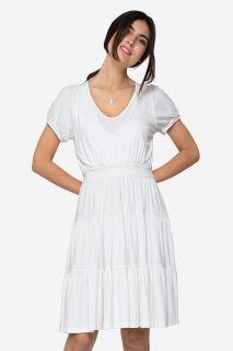 Organic Umstands- und Stillkleid mit Volants weiß