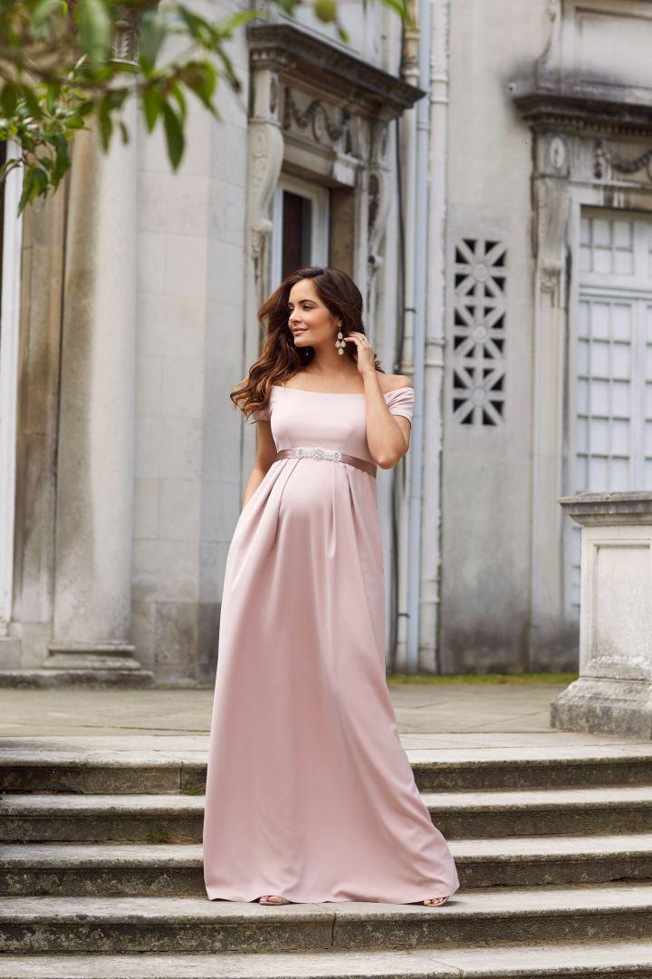 Maternity robe with submarine neckline, mellow rose