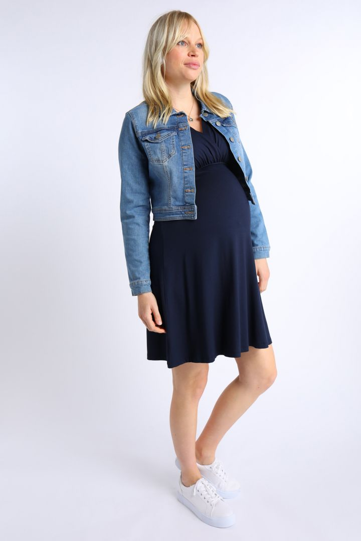 Ecovero Maternity and Nursing Dress with Post Partum Shpaing Top navy
