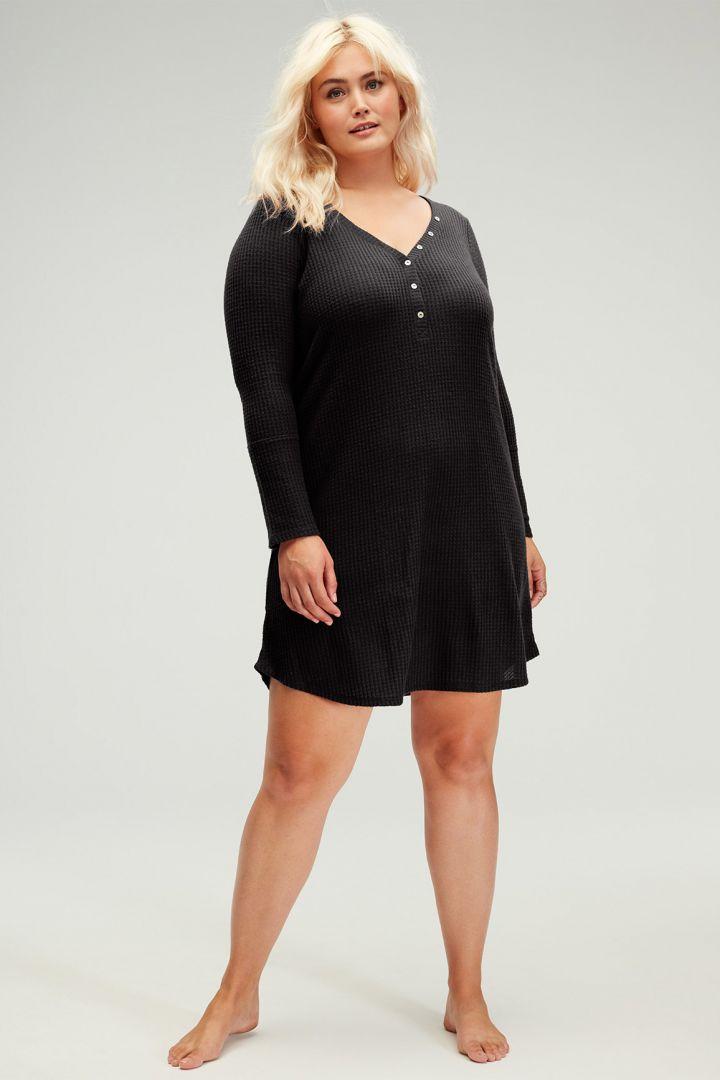 Henley Maternity Nightie black