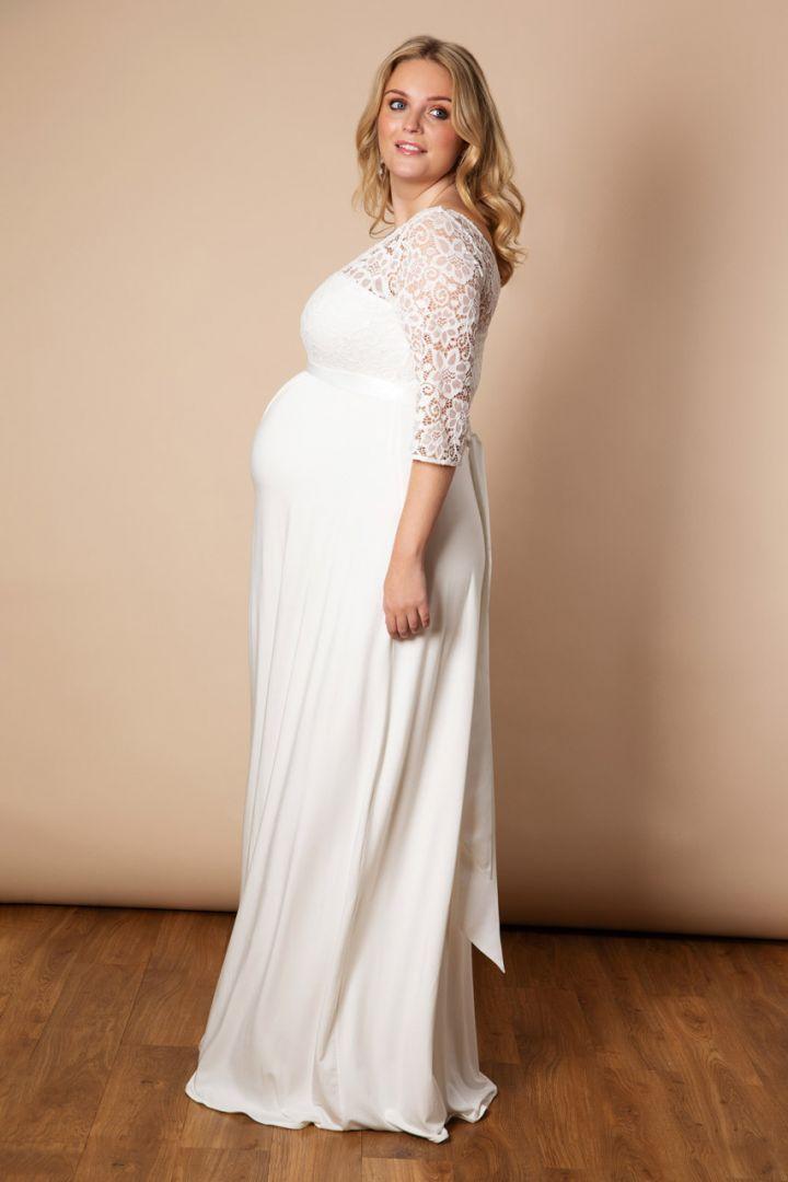 Plus Size maternity wedding dress with V-neck, ivory