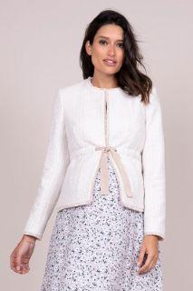 Tweed Umstandsjacke mit Bindegürtel
