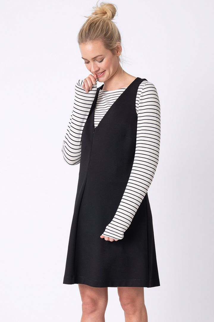 Three-piece maternity set: dress, striped shirt, and leggings