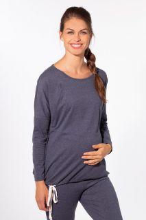 Lounge- und Pyjama Umstandsshirt mit Stillöffnung blau melange