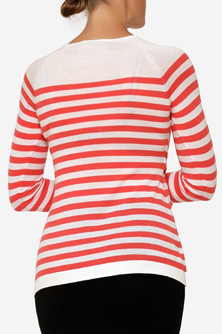 Umstands- und Stillpullover aus Bio-Baumwolle rot/weiß
