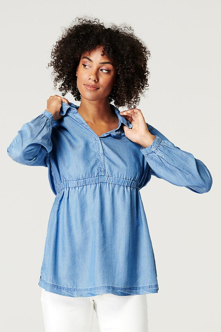 Tencel Maternity and Nursing Tunic Denim-Style