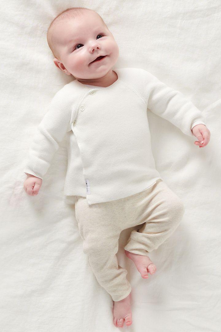 Organic Baby Wrap Cardigan white
