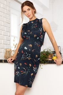 Umstands- und Stillkleid mit Stehkragen und Blumenprint