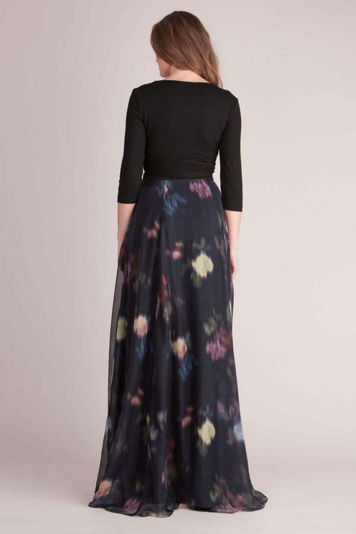 Umstands- und Stillkleid mit floralem Seidenrock