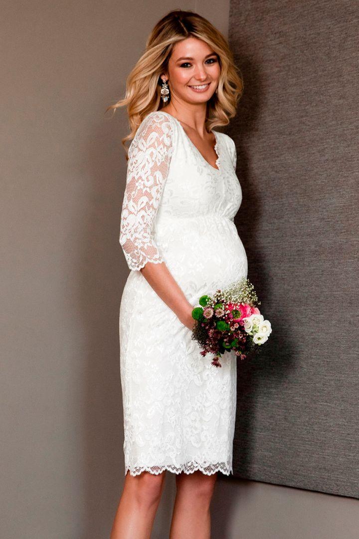 Plus SIze Lace Maternity wedding dress with v-neck