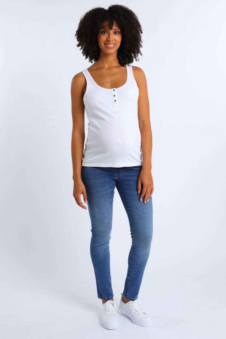 Organic Maternity and Nursing Top with Button Front white