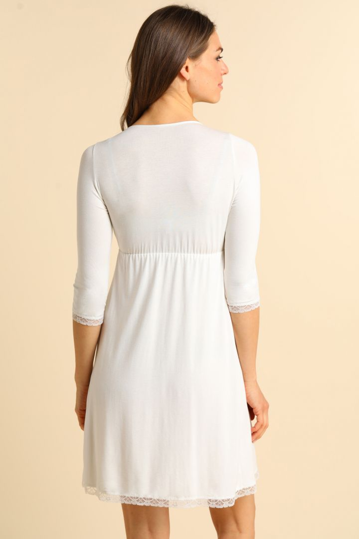 Cache-Coeur Maternity and Nursing Nightie with Lace ecru