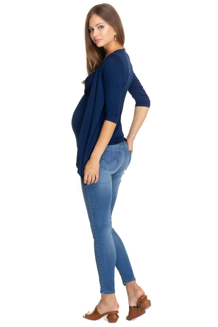 Maternity and Nursing Shirt with Cardigan Fronts navy
