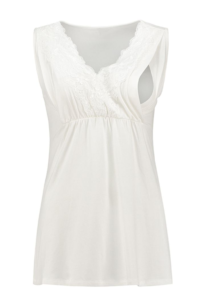 Tencel Maternity and Nursing Top with Lace Details offwhite