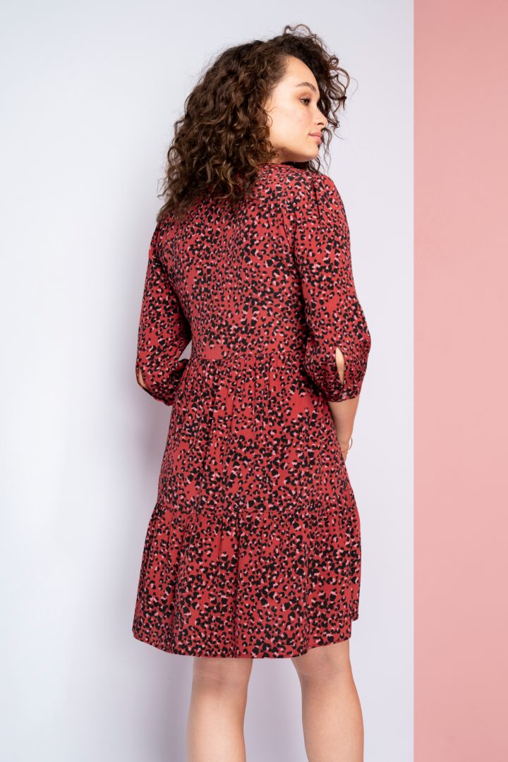 Maternity and Nursing Tiered Dress Leopard red