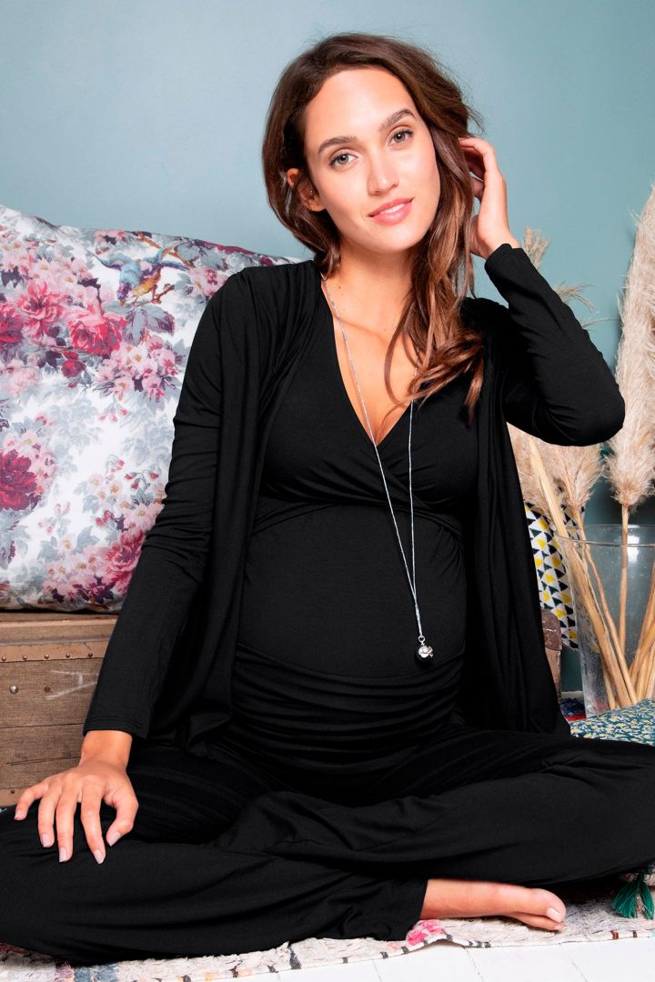 3-teiliges Homewear Umstandsmode Set schwarz