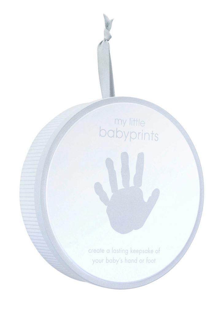 Geschenkdose für Baby Hand- oder Fußabdruck grau