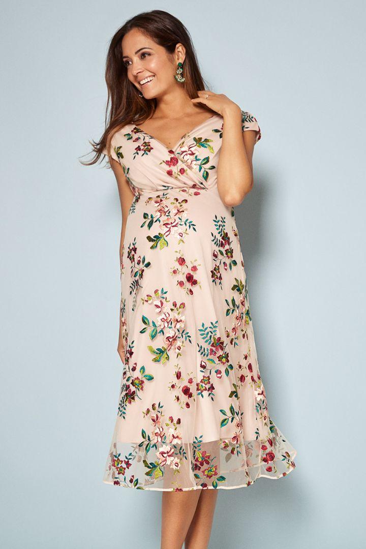 Blushing Blooms Print Mid-Length Maternity Dress