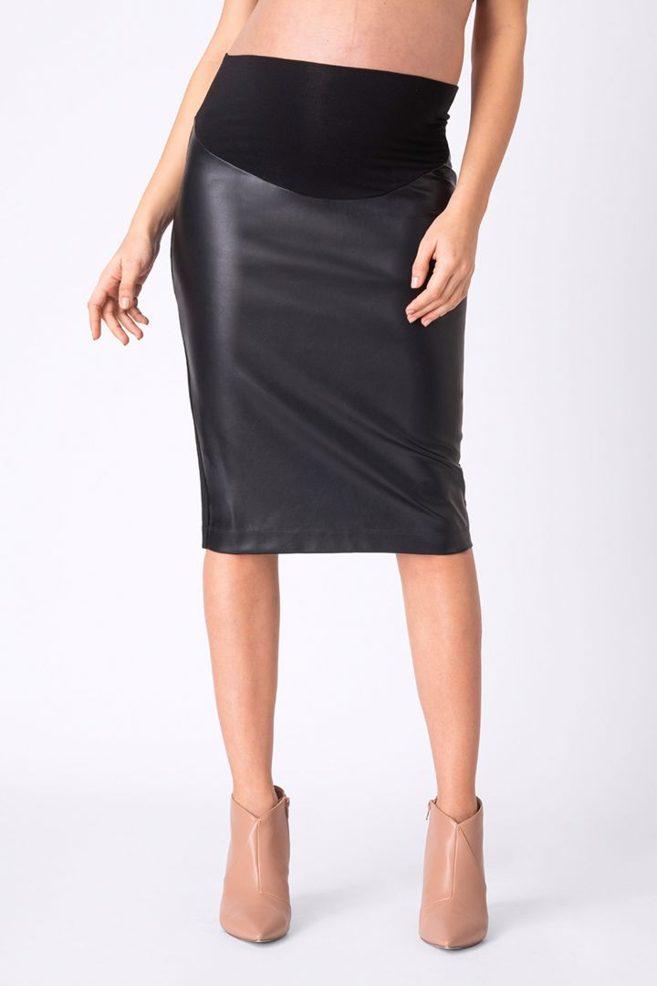 Maternity skirt in leather look