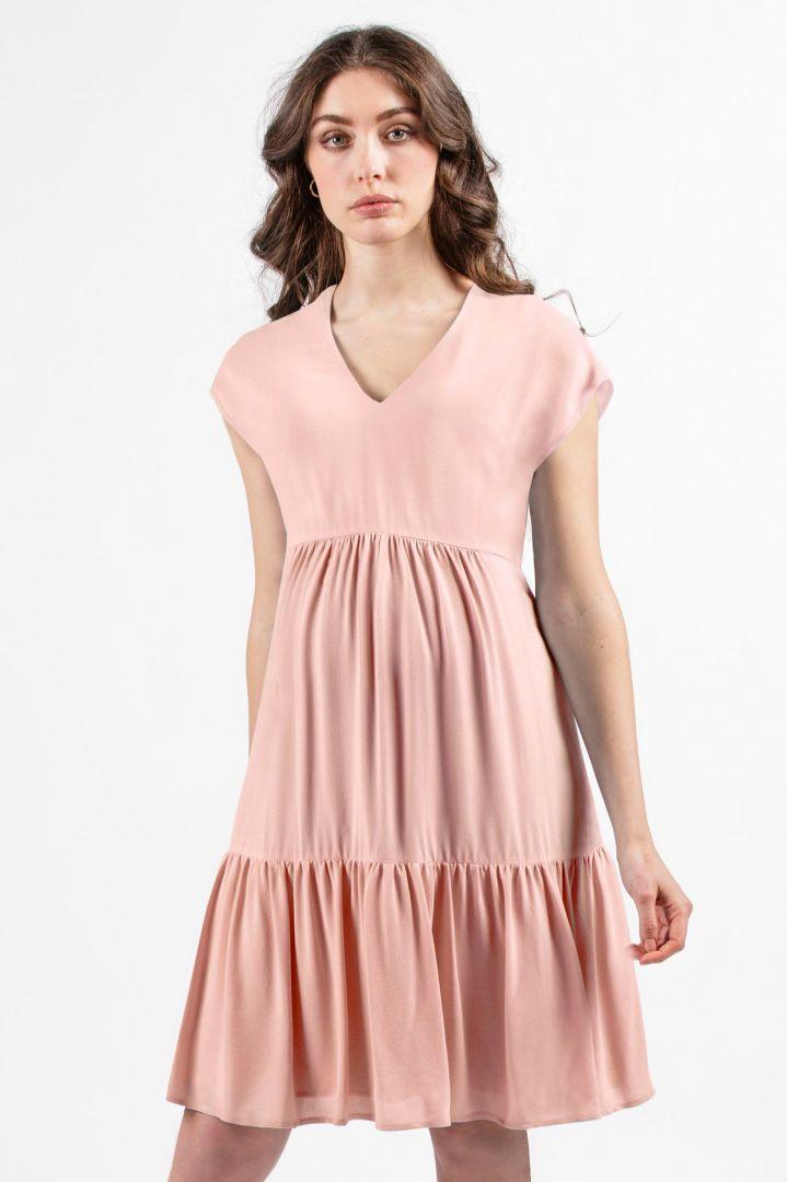 Maternity Dress with Flounce Hem rose