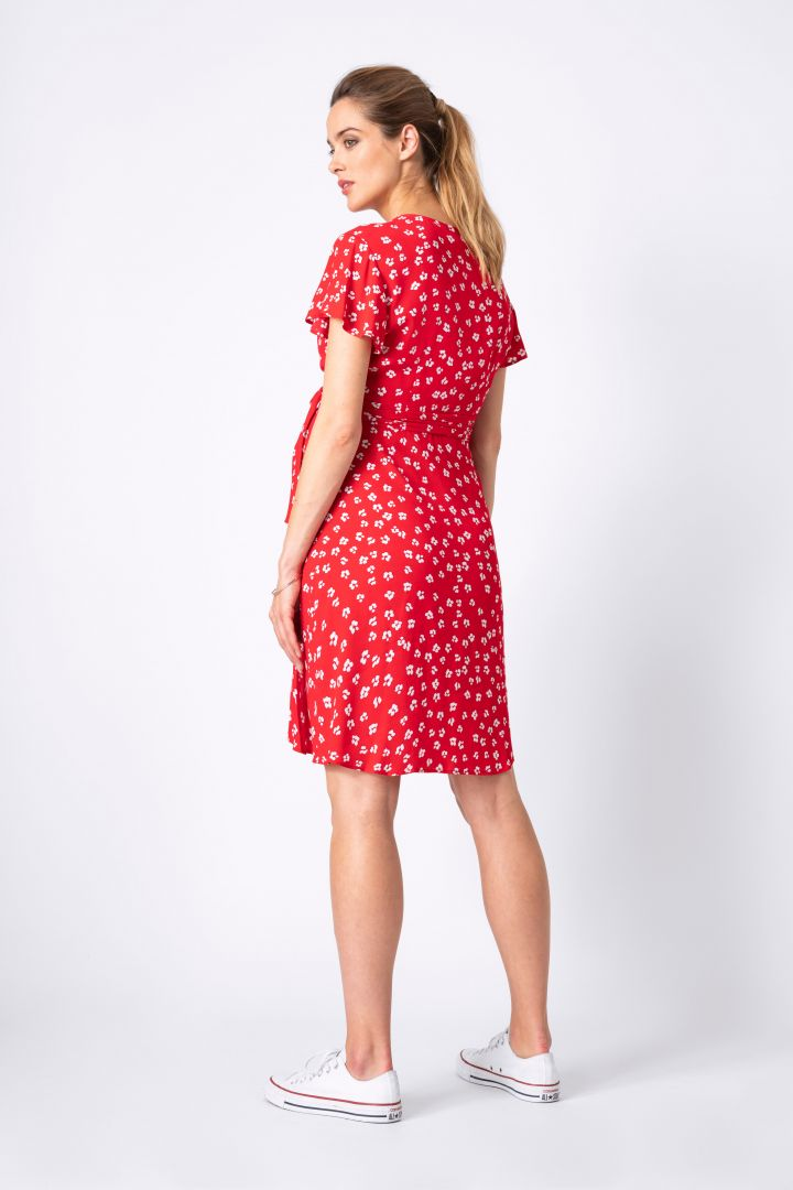 Maternity and Nursing Wrap Summer Dress red