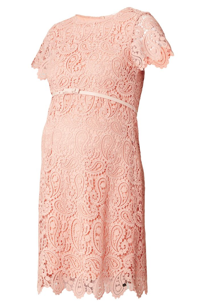 Maternity dress made of crochet lace with belt