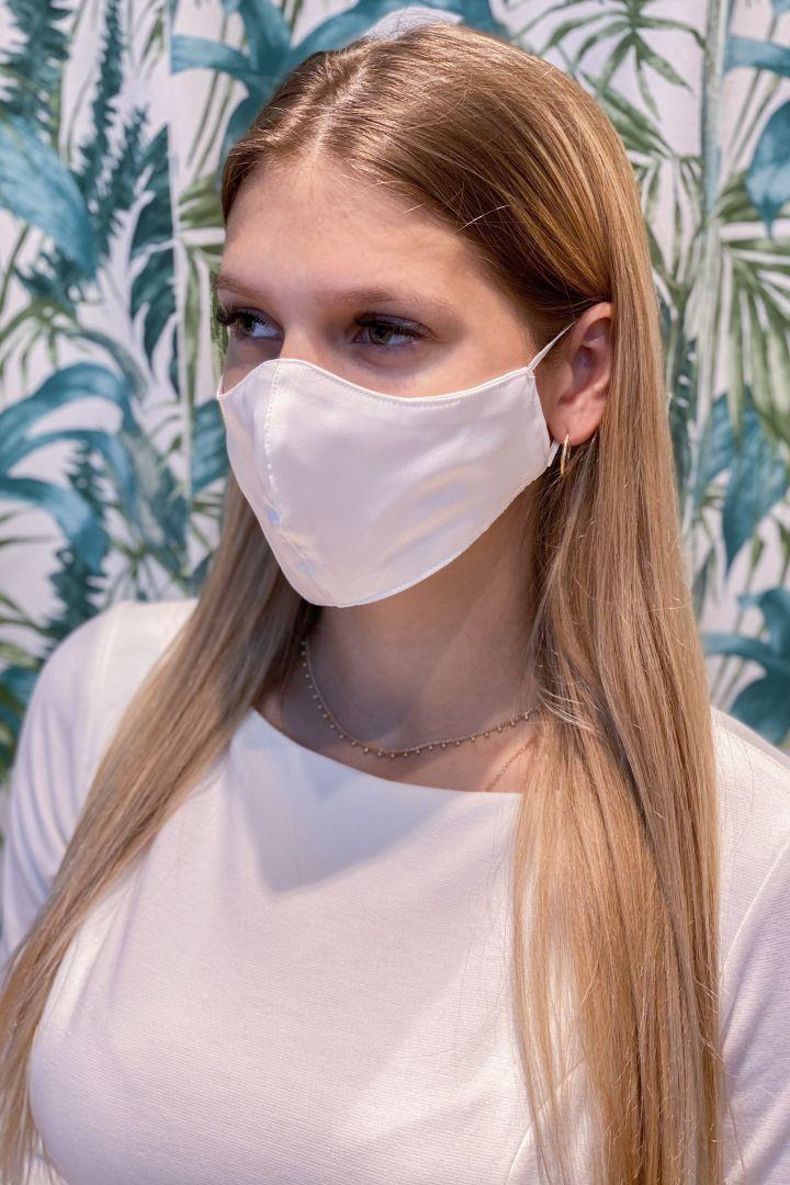 Braut Mundschutzmaske aus Kunstseide mit Armbeutel