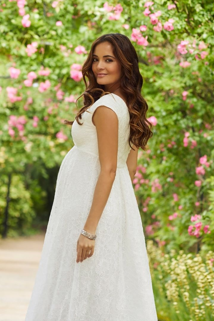 Lace Maternity and Nursing Wedding Gown with Cache-Coeur Neck ivory