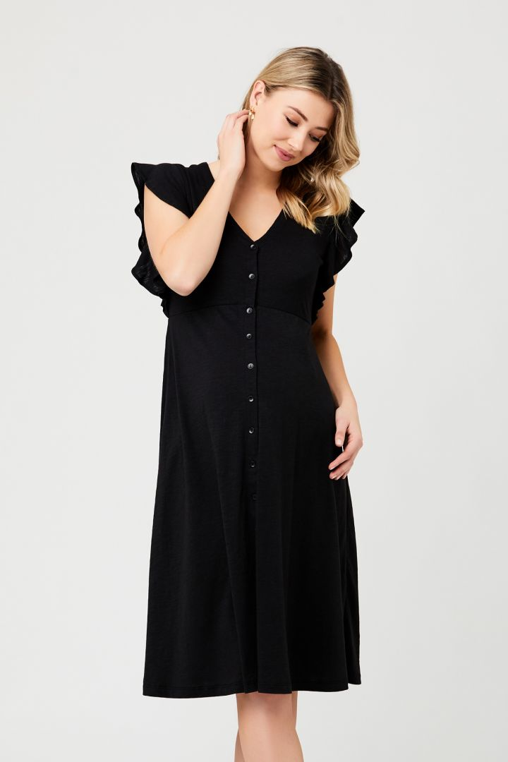 Midi Maternity Dress with Button Placket