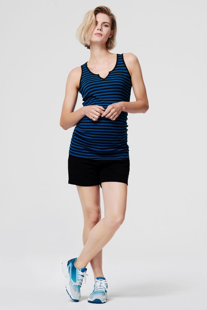 Fine-Rib Maternity Top with Stripes