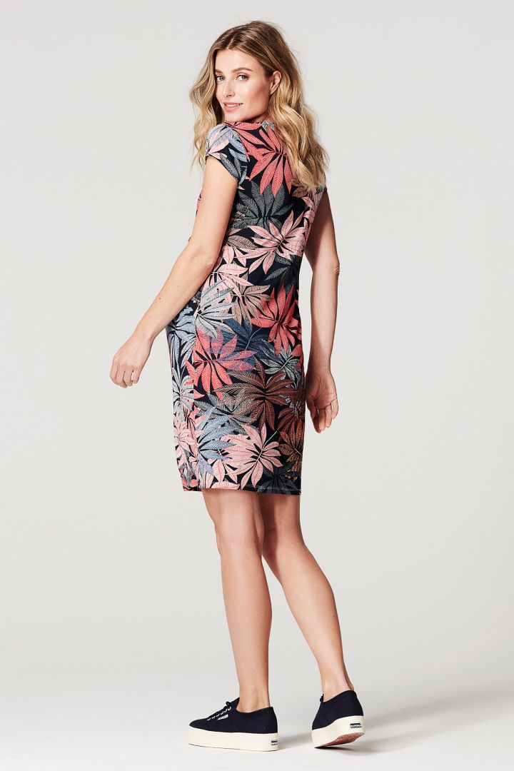 Maternity and Nursing Dress with Cache-Coeur and Flower Print