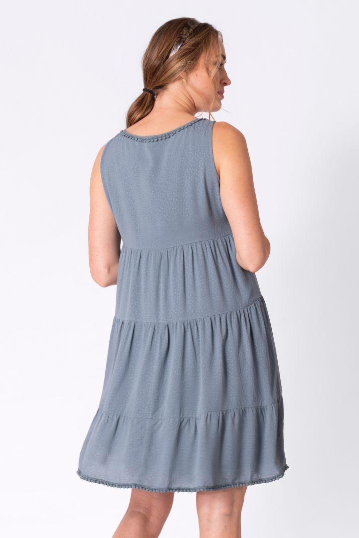 Umstands- und Stillkleid mit Pompomborte blau