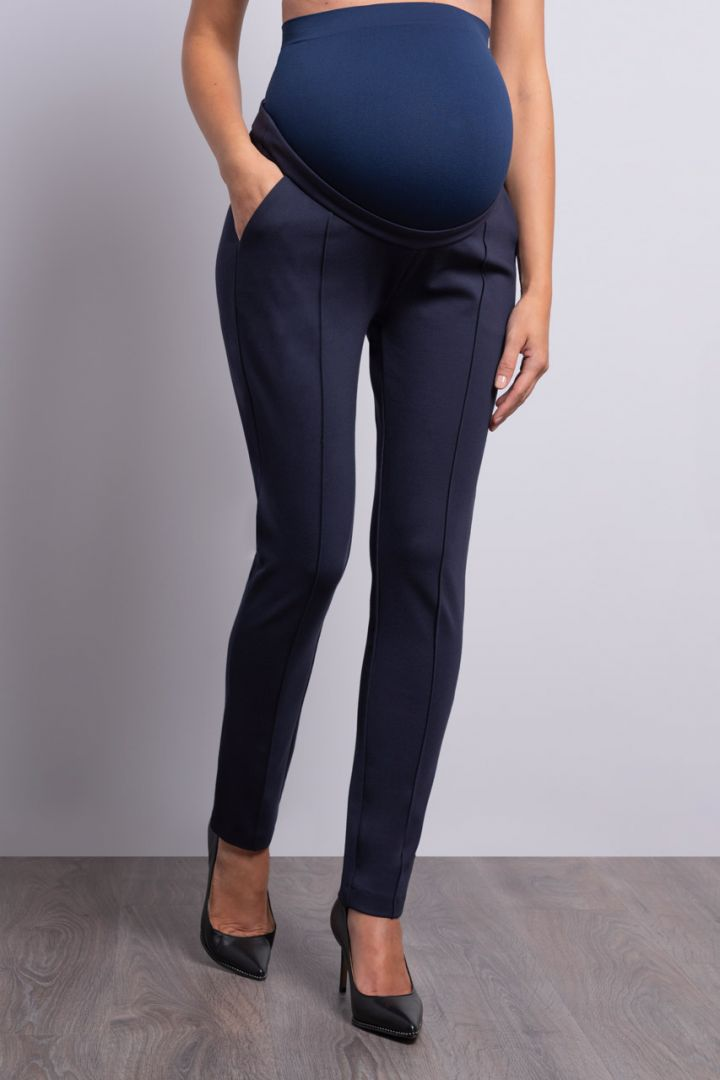 Ponte Maternity Pants with Front Seam, navy