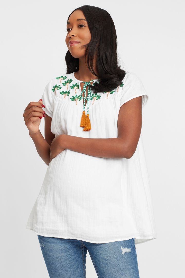 Maternity blouse with embroidery and tassels