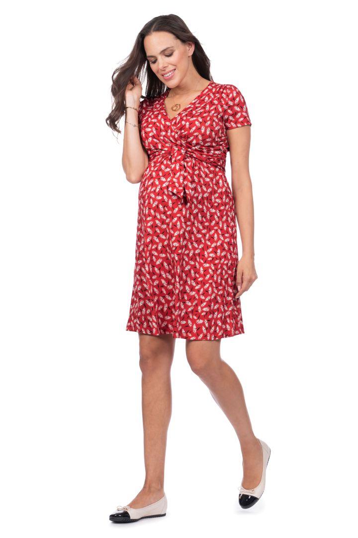 Umstands- und Still-Wickelkleid Red Daisy