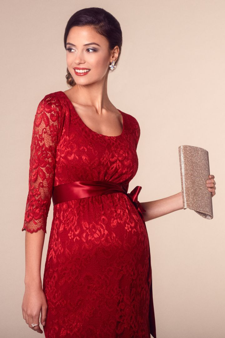 Maternity Lace Dress red