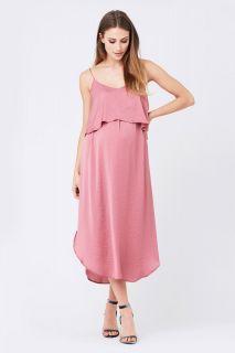 Zweilagiges Umstands- und Stillkleid mit Spaghettiträgern rosa