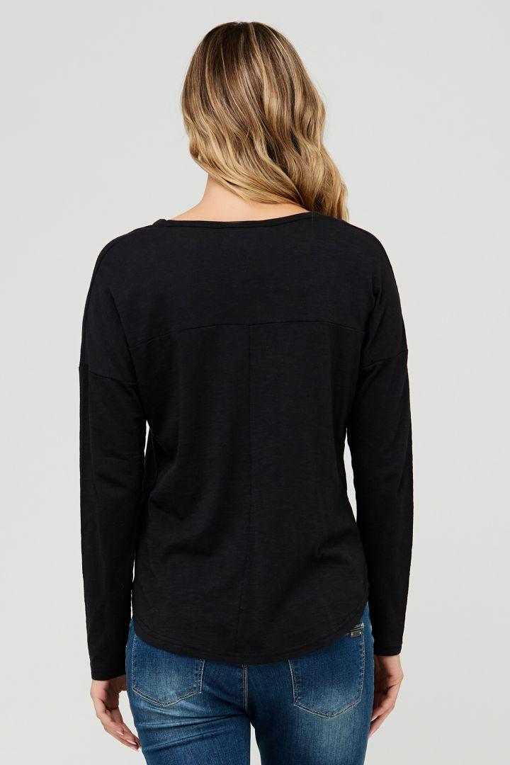 Relaxed Umstandsshirt langarm schwarz