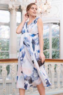 Midi Umstandskleid aus Seide mit Blumen Print
