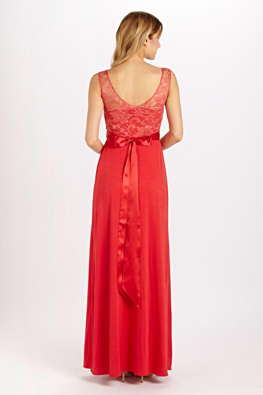 Valencia Kleid sunset red | Festliche Umstandskleider lang ...