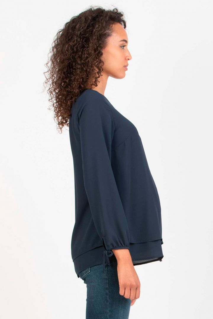 Layered Maternity and Nursing Blouse with Twisted Detail navy