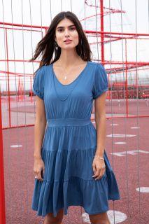 Organic Umstands- und Stillkleid mit Volants blau