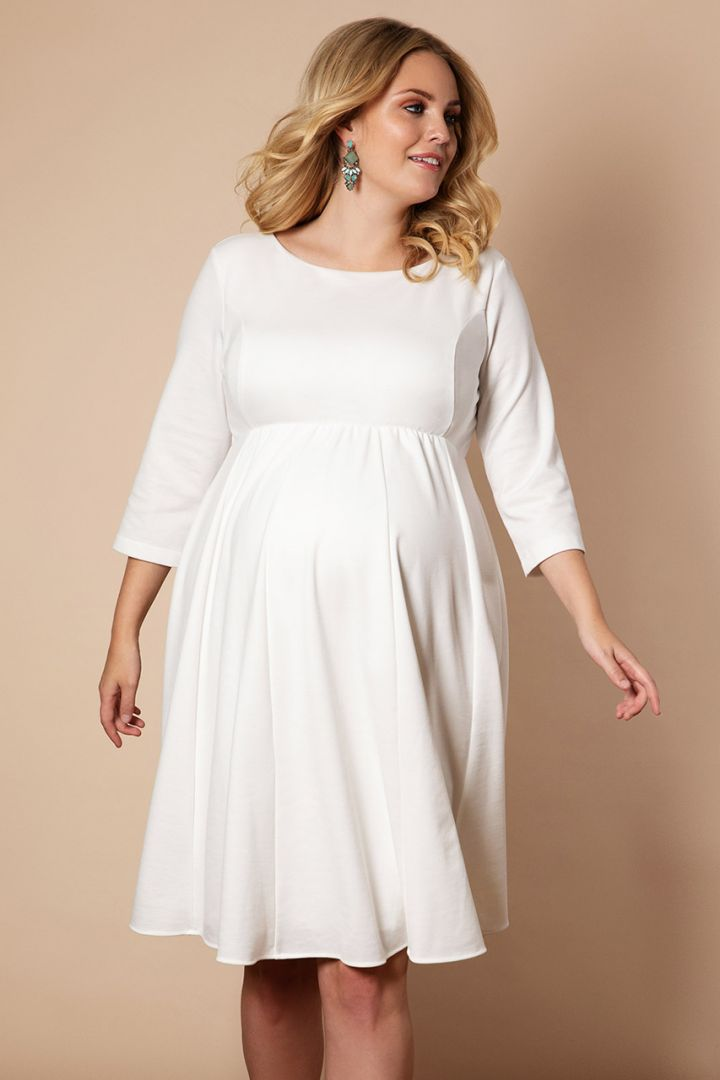 Plus Size Maternity wedding dress with submarine neckline