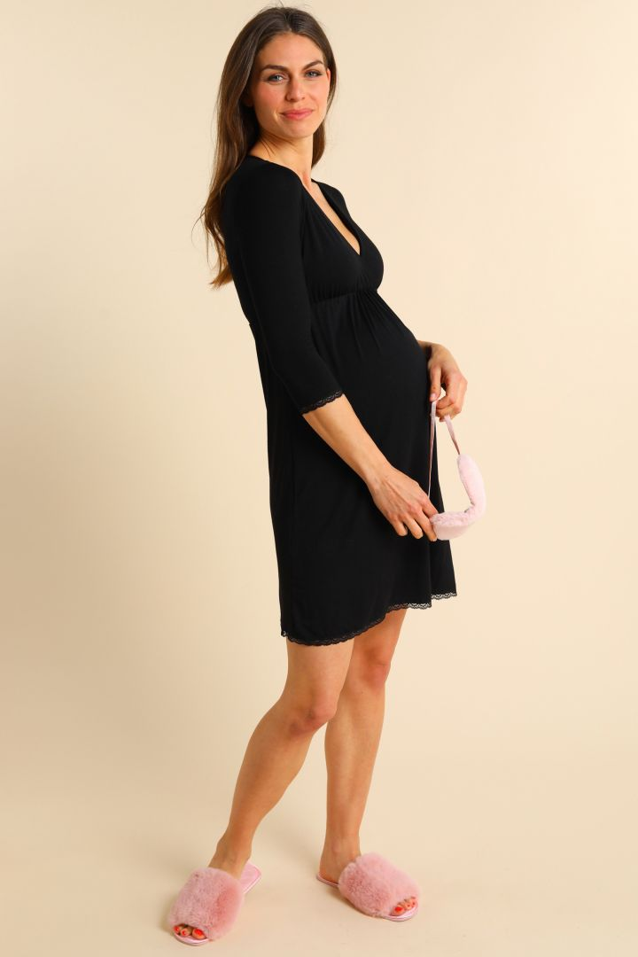 Cache-Coeur Maternity and Nursing Nightie with Lace black