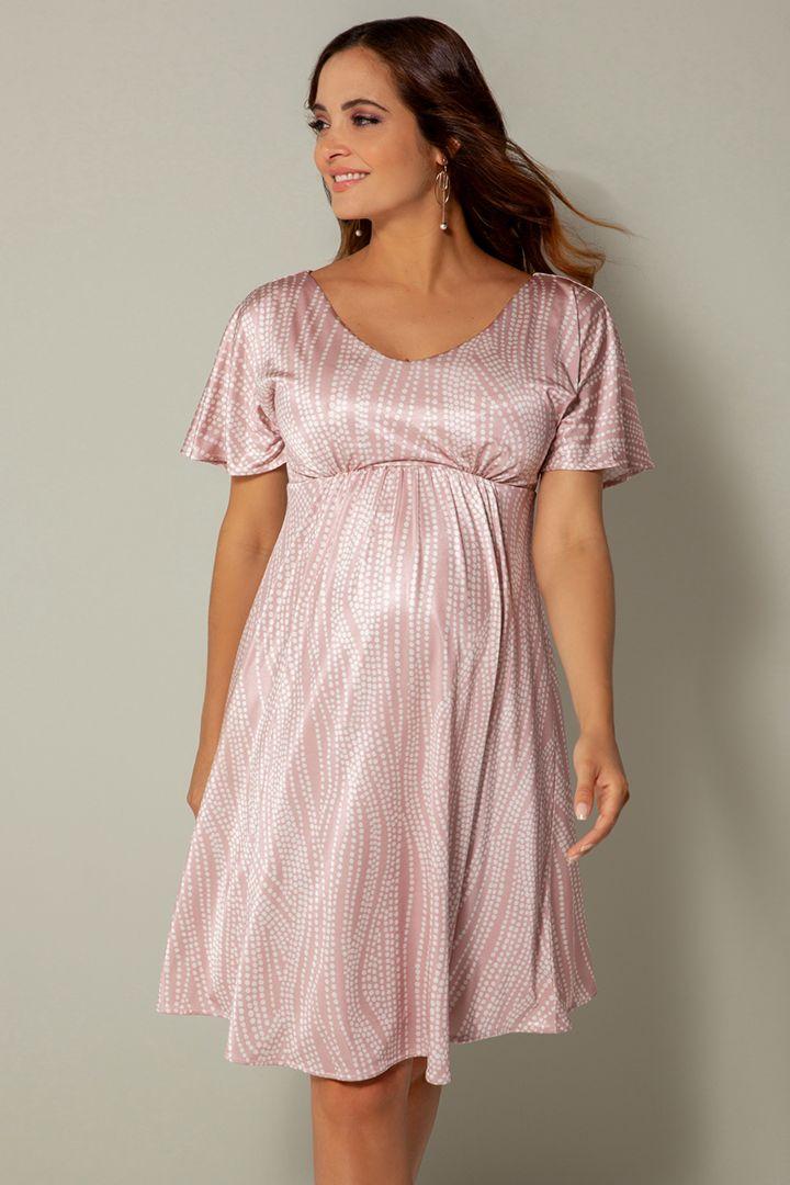 Umstandskleid mit Kimonoärmeln rosa/weiß