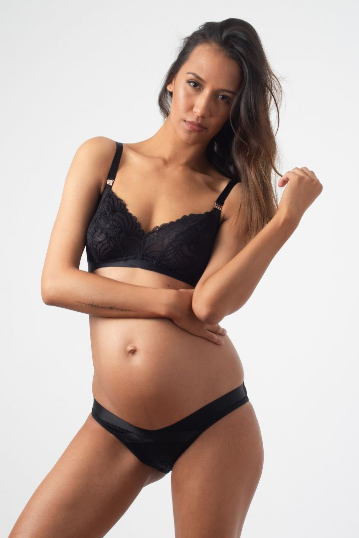 Soft Cup Maternity and Nursing Bra with Lace black