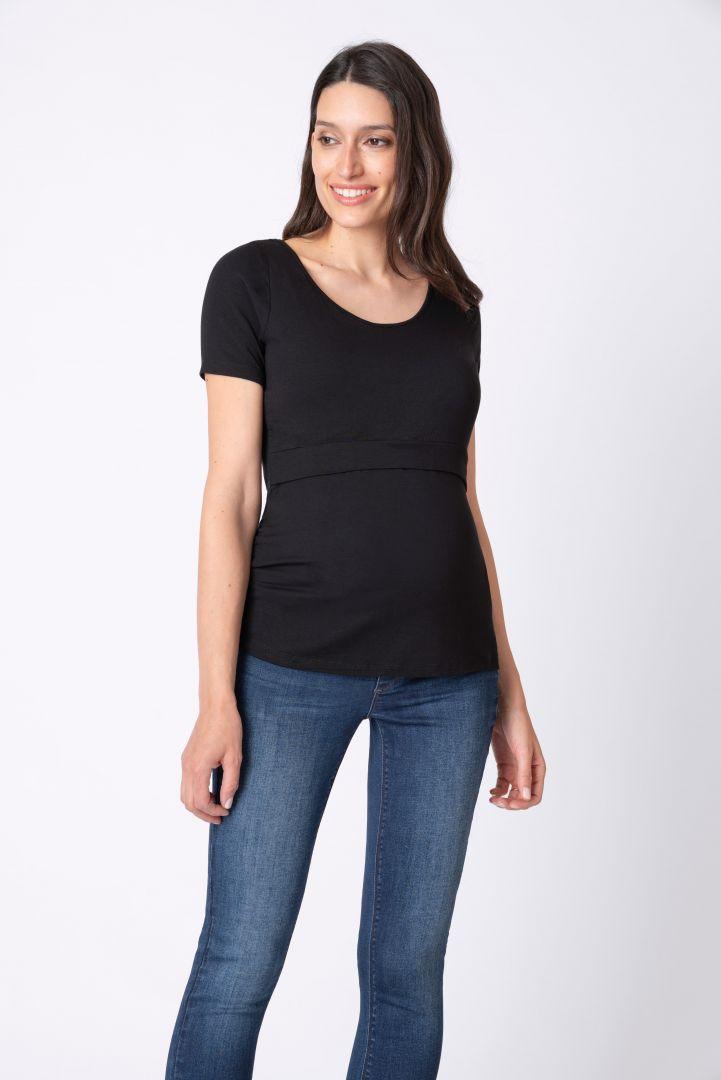 Set of 2 Layered Maternity and Nursing Shirts black/white