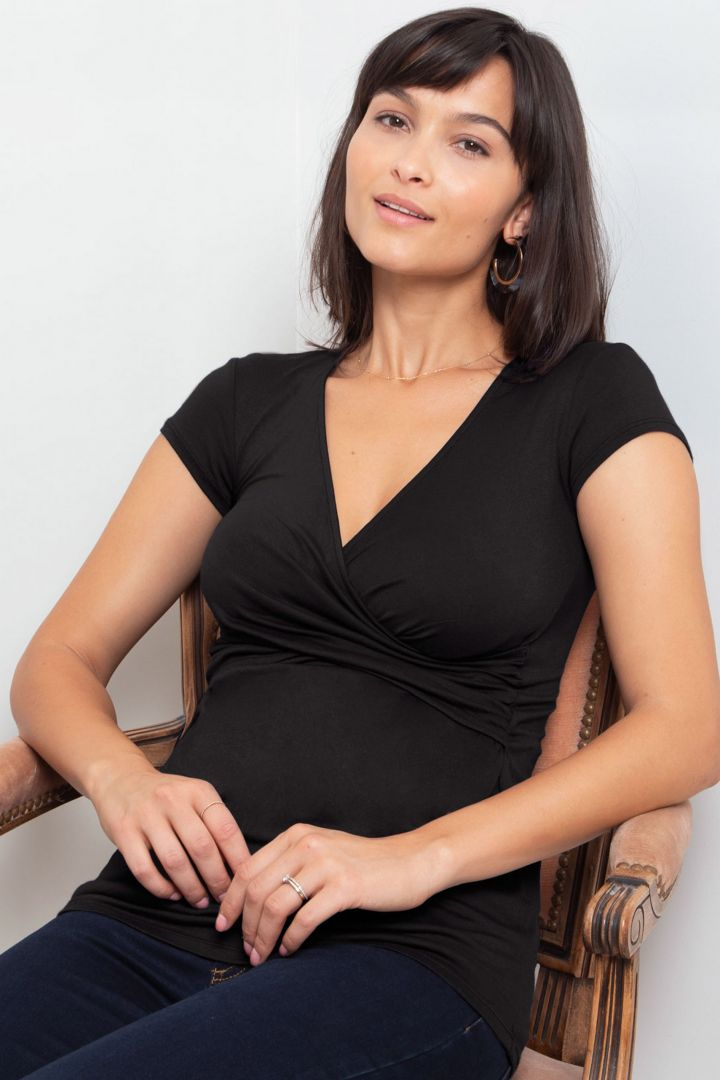 Cross-Over Maternity and Nursing Top black